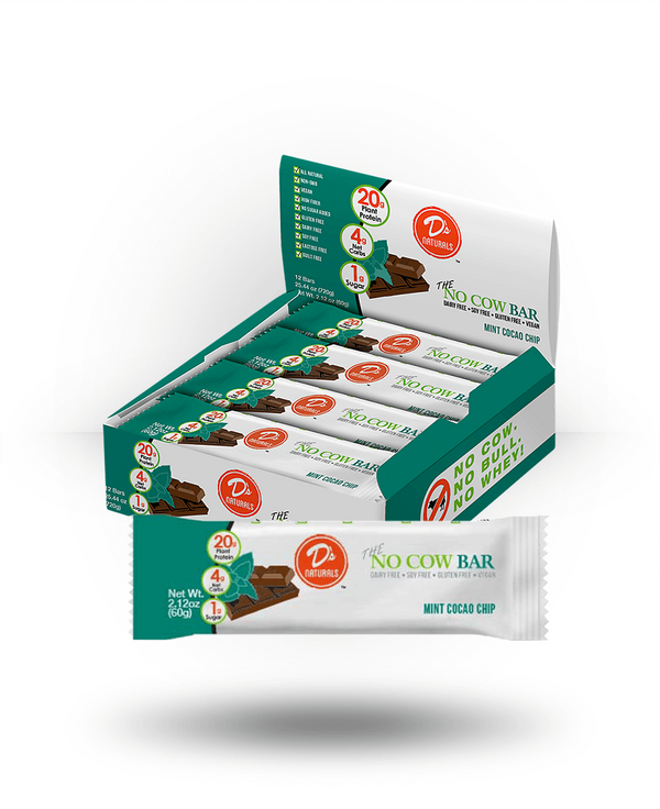 D's Naturals No Cow Bar Mint Chocolate Chip, 12 Bars