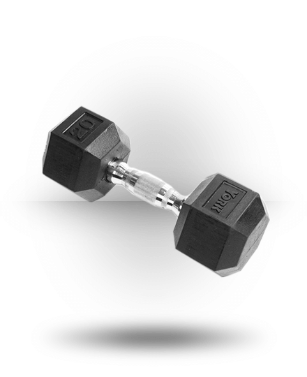 York Barbell Rubber Hex Dumbbell With Chrome Ergo Handle 20 lb