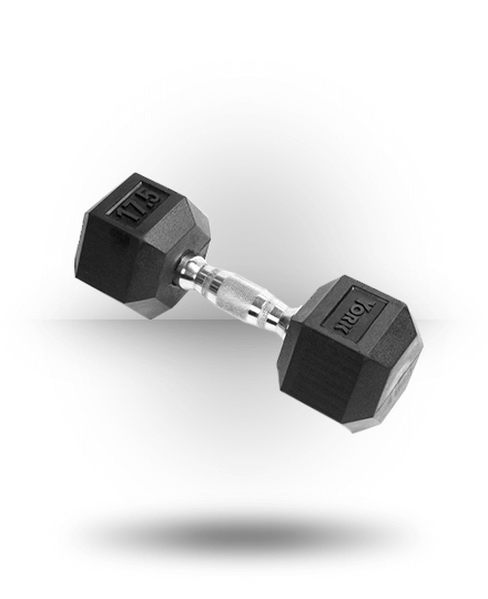 York Barbell Rubber Hex Dumbbell With Chrome Ergo Handle 17.5 lb