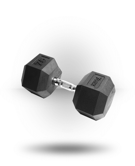 York Barbell Rubber Hex Dumbbell With Chrome Ergo Handle 75 lb