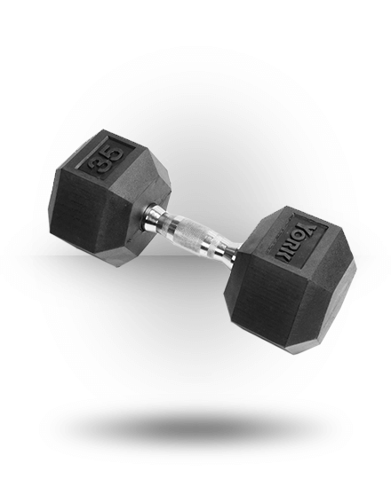 York Barbell Rubber Hex Dumbbell With Chrome Ergo Handle 35 lb