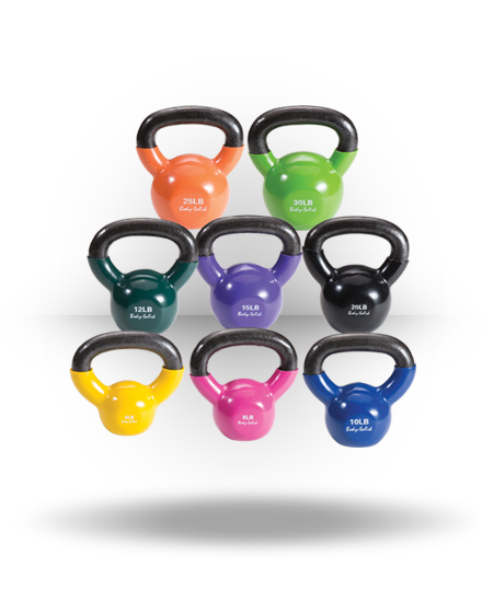 Body-Solid Vinyl Coated Kettlebell Set 5-30 lb