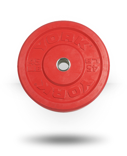 York Barbell Solid Rubber Training Color Bumper Plate (lb) Red 45 lb