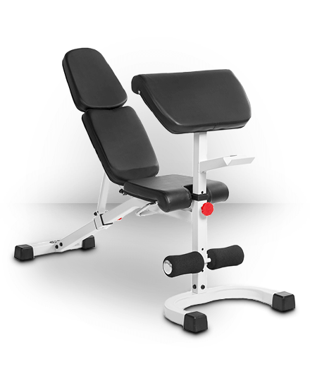 XMark FID Flat Incline Decline Weight Bench with Preacher Curl White