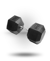 York Barbell Rubber Hex Dumbbell With Chrome Ergo Handle 110 lb