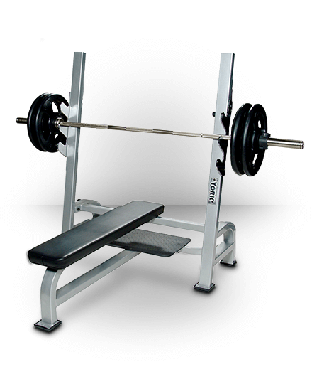 York Barbell Olympic Flat Bench With Gun Racks Silver