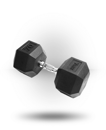 York Barbell Rubber Hex Dumbbell With Chrome Ergo Handle 70 lb