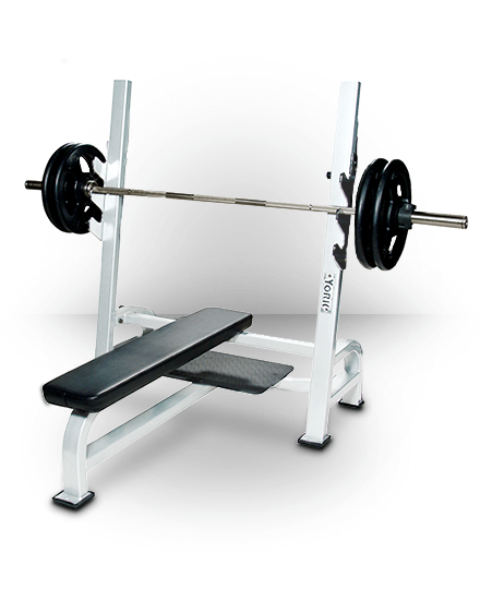 York Barbell Olympic Flat Bench With Gun Racks White