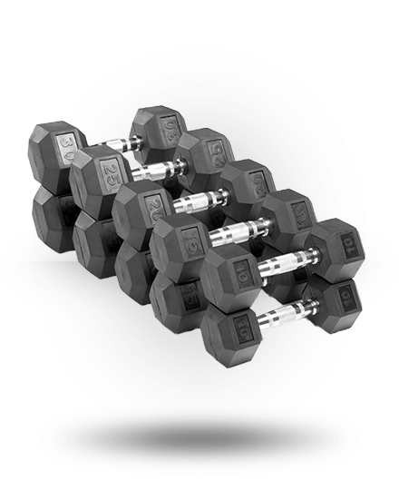 Xmark Fitness Rubber Hex Dumbbell Set 10-30 lb (Pairs)