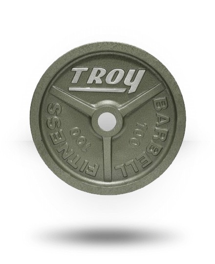 Troy Barbell Fully Machined Gray Wide-Flanged Olympic Plate 100 lb