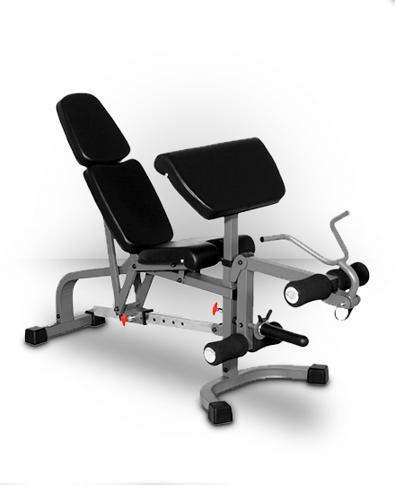 XMark Fitness XMark FID Flat Incline Decline Weight Bench with Leg Extension and Preacher Curl Gray XM-4419