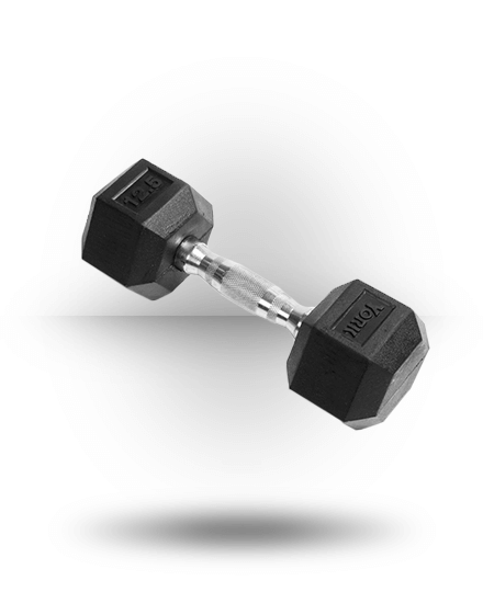York Barbell Rubber Hex Dumbbell With Chrome Ergo Handle 12.5 lb
