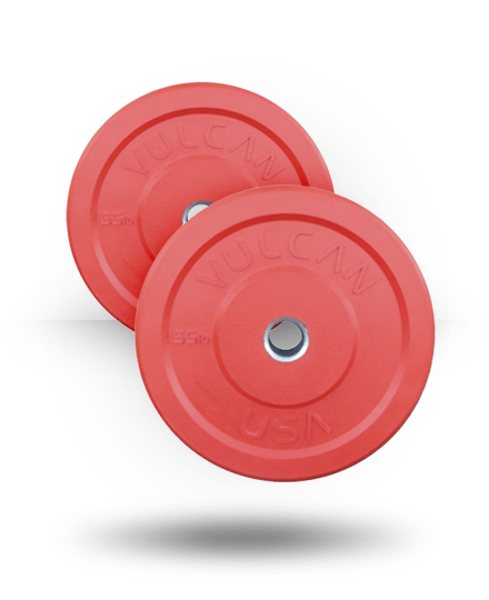 Vulcan Colored Bumper Plates - Pair Red, 55 lb