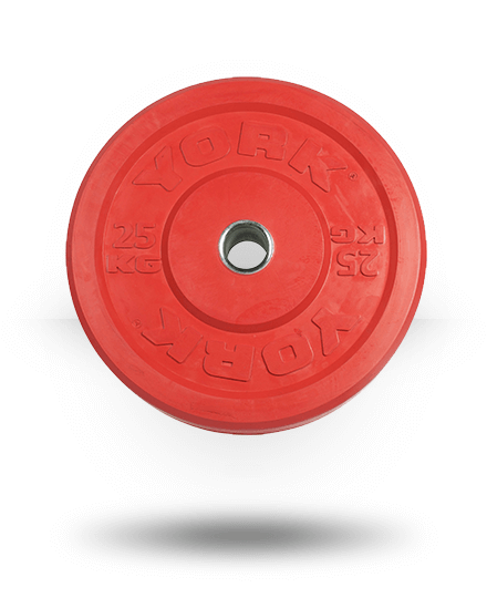 York Barbell Solid Rubber Training Color Bumper Plate (kg) Red, 25 kg