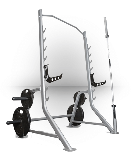 Squat Rack with Bar and Plate Storage