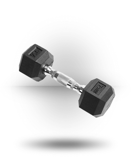 York Barbell Rubber Hex Dumbbell With Chrome Ergo Handle 7.5 lb