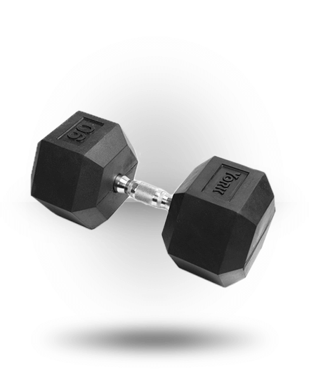 York Barbell Rubber Hex Dumbbell With Chrome Ergo Handle 90 lb
