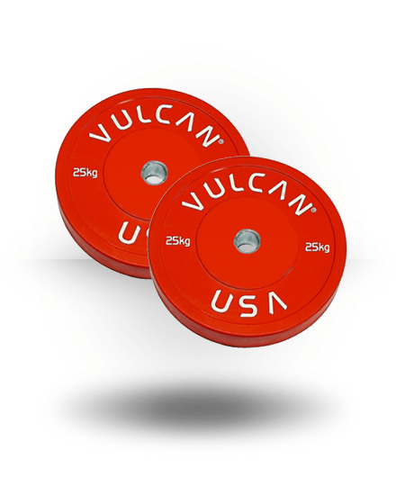 Vulcan Colored Kilo Bumper Plates Pair Red 25 kg