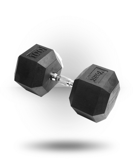 York Barbell Rubber Hex Dumbbell With Chrome Ergo Handle 100 lb