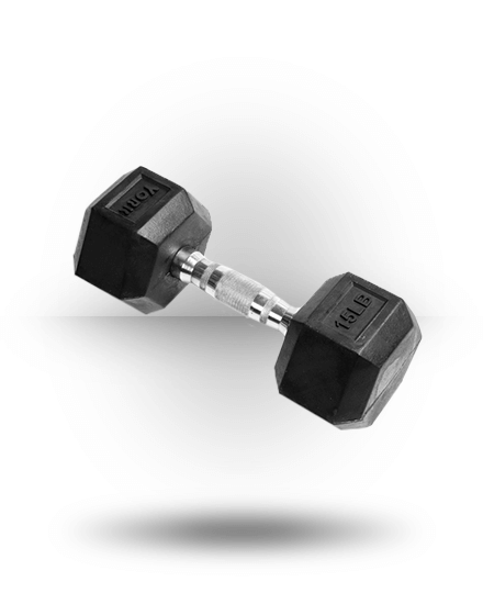 York Barbell Rubber Hex Dumbbell With Chrome Ergo Handle 15 lb