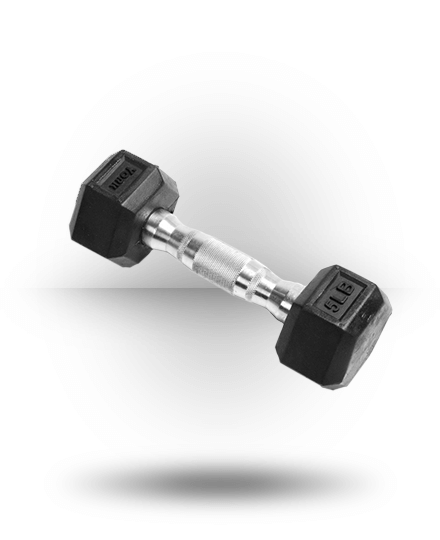York Barbell Rubber Hex Dumbbell With Chrome Ergo Handle 5 lb