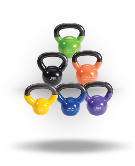 Body-Solid Vinyl Coated Kettlebell Set 5,10,15,20,25,30 lb