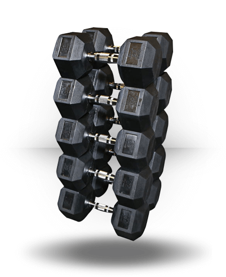 Body-Solid Rubber Coated Hex Dumbbell Set 55-75 lb pairs