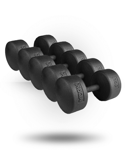 York Barbell Legacy Solid Round Professional Dumbbell Set 130-150 lb (Pairs)