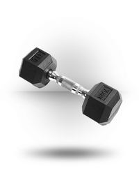 York Barbell Rubber Hex Dumbbell With Chrome Ergo Handle 10 lb