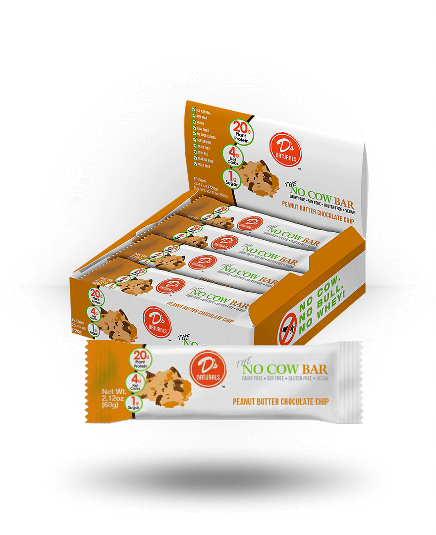 D's Naturals No Cow Bar Peanut Butter Cookie Dough, 12 Bars