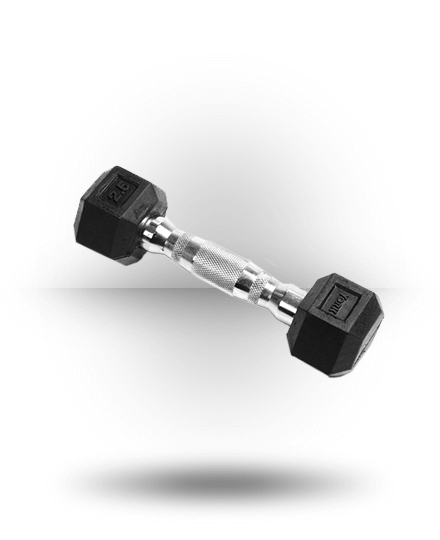 York Barbell Rubber Hex Dumbbell With Chrome Ergo Handle 2.5 lb