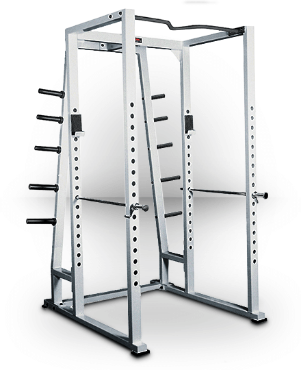 York Barbell Power Rack With Weight Storage Silver