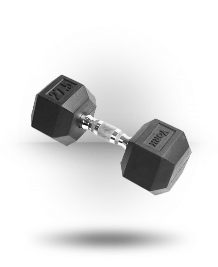 York Barbell Rubber Hex Dumbbell With Chrome Ergo Handle 27.5 lb
