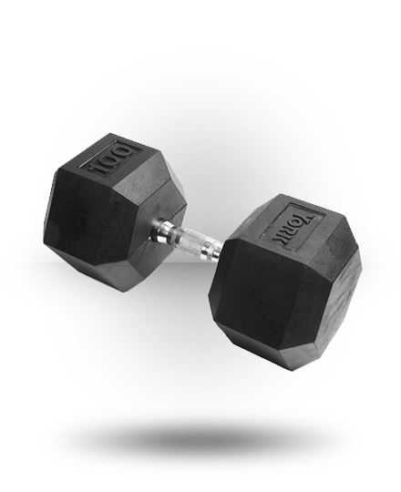 York Barbell Rubber Hex Dumbbell With Chrome Ergo Handle 105 lb