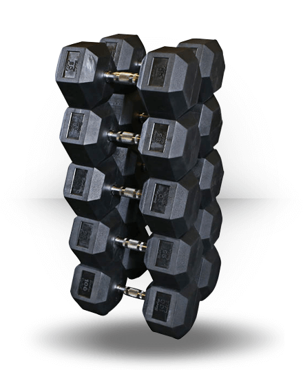 Body-Solid Rubber Coated Hex Dumbbell Set 80-100 lb pairs