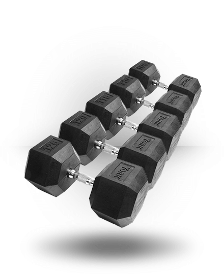 York Barbell Rubber Hex Dumbbell With Chrome Ergo Handle Set 105-125 lb (Pairs)