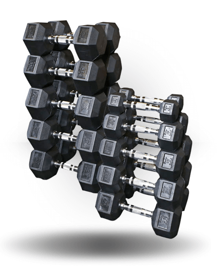 Dumbbell Set Up To 50: Body-Solid Rubber Coated Hex Dumbbell Set