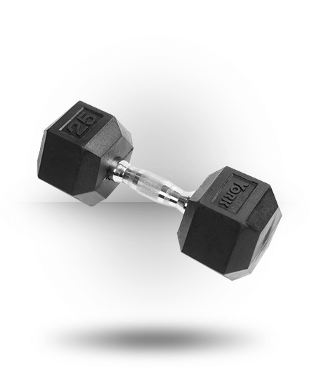 York Barbell Rubber Hex Dumbbell With Chrome Ergo Handle 25 lb