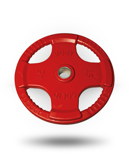 Body-Solid Rubber Grip Olympic Plate (Colored) Red 45 lb