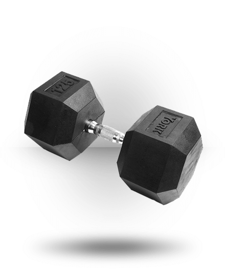 York Barbell Rubber Hex Dumbbell With Chrome Ergo Handle 125 lb