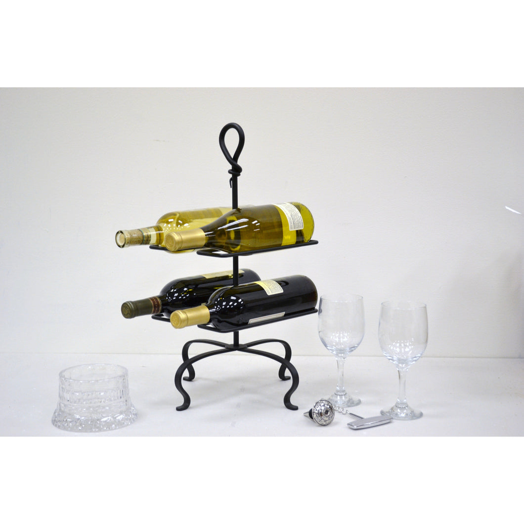 Signature Hand-Forged Knot Four Bottle Wine Rack 3066