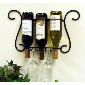 Old Sonoma Wall Three Bottle and Glass Holder 4027
