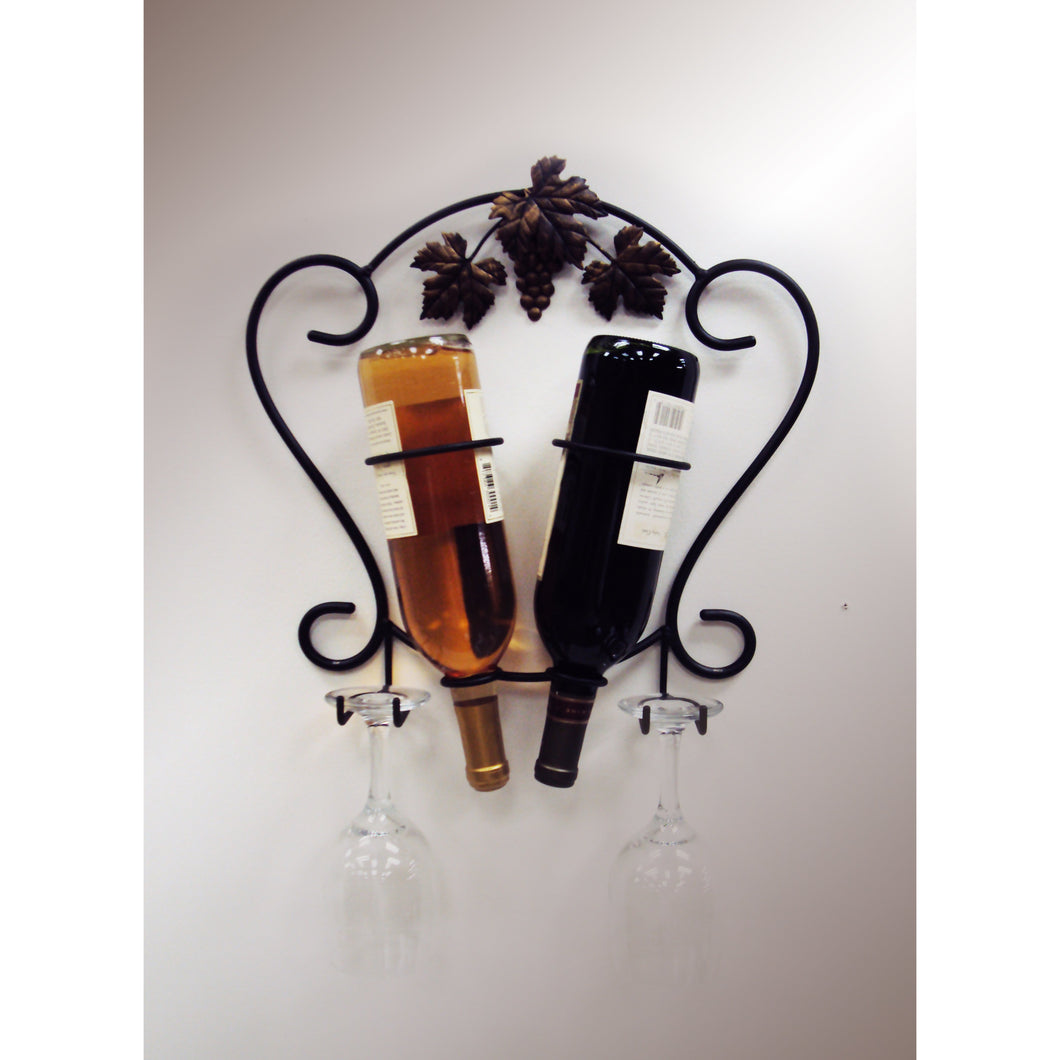 Old Sonoma Two Bottle Wall Wine and Glass Holder 4039