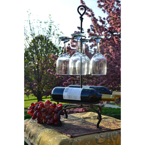 Signature Hand-Forged Knot Series Wine Glass and Bottle holder 4196
