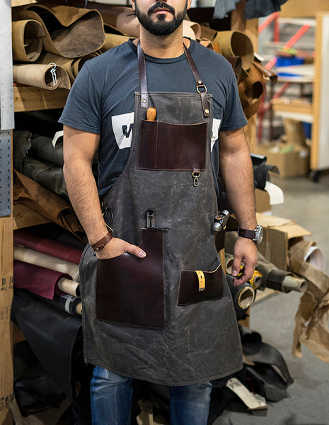 leather apron waxed canvas
