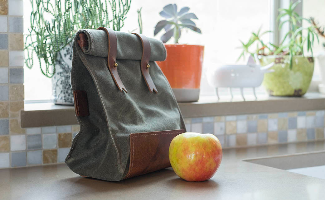 leather canvas lunch bag
