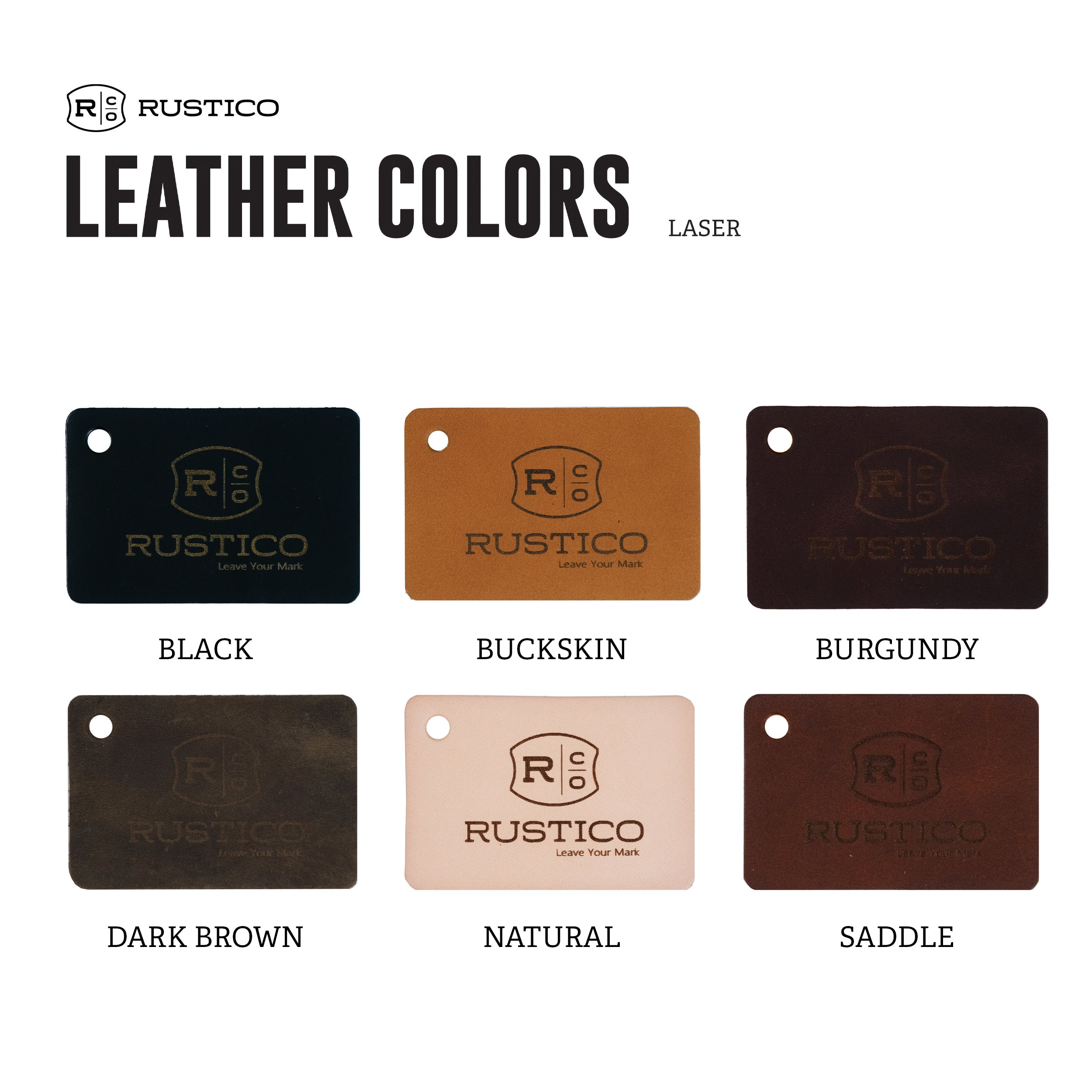 Rustico leather color swatches