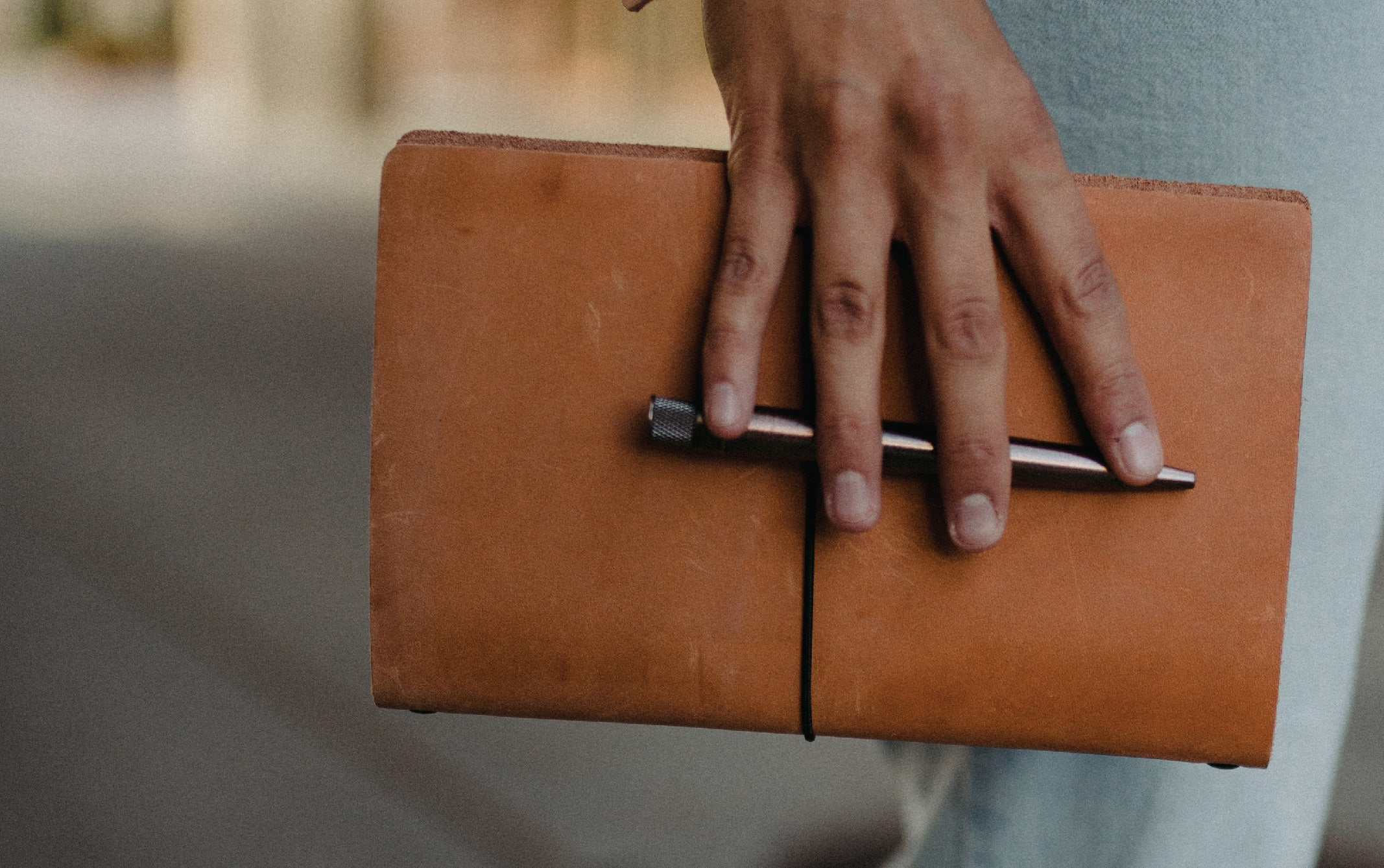 Leather refillable notebooko