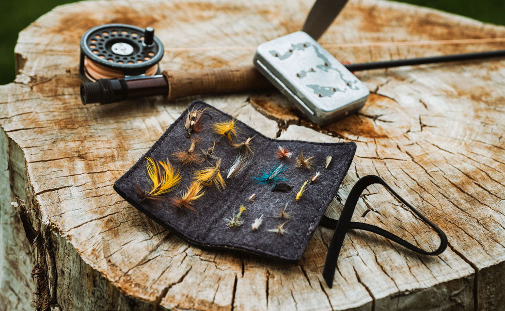 leather fly fishing book flies