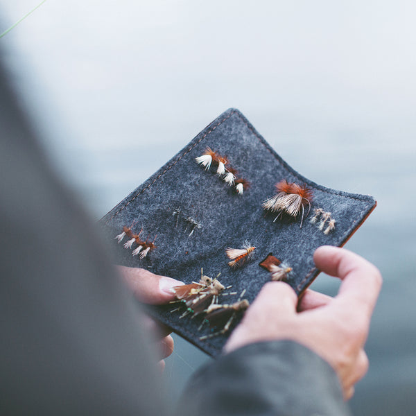 leather fly fishing fly book